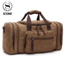 Scione erkekler seyahat çantaları tuval bagaj taşımak çok fonksiyonlu deri çantaları haftasonu çantaları erkekler Duffel çanta büyük kapasiteli Tote