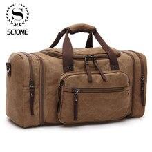 Scione 남성 여행 가방 캔버스 수하물 다기능 가죽 가방 주말 가방 남성 더플 백 대용량 토트 백