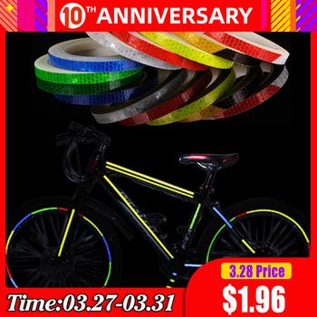 Akcesoria rowerowe rower odblaskowe naklejki taśmy MTB koło rowerowe naklejki fluorescencyjne taśmy odblaskowe naklejki rowerowe Decor tanie i dobre opinie waterproof PVC 1cm width Reflective Durable Rainproof Fastness for bicycle for helmet for everything Reflective Stickers