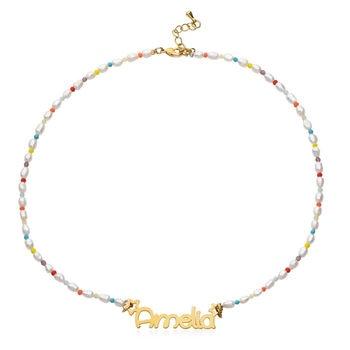 Custom Name Natural Pearl Stainless Steel Name Necklace Pendant Handmade Women Necklace Christmas Gift for Girls 2020 New natural black custom name lava