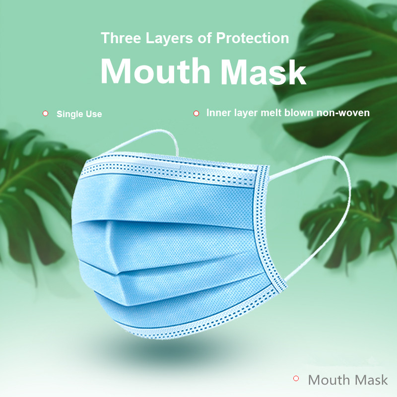 20PCS Disposable Face Mask Anti-Pollution 3 Laye Mask Protection Masks Elastic Meltblown nonwoven fabric Disposable Dust Masks
