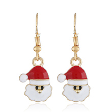 Hot Creative Christmas Ornaments Dangle Earrings For Women Stylish Christmas Claus Drop Earrings jewelry for gift merry christmas santa claus jewelry sets lovely enamel father christmas dangle earrings ring necklace bracelets jewelry set gift