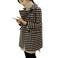 2019 Fashion Women Woolen Coat Warm Thicker Coats Houndstooth Wool Coat Vintage Black and White Loose Retro Plaid Female