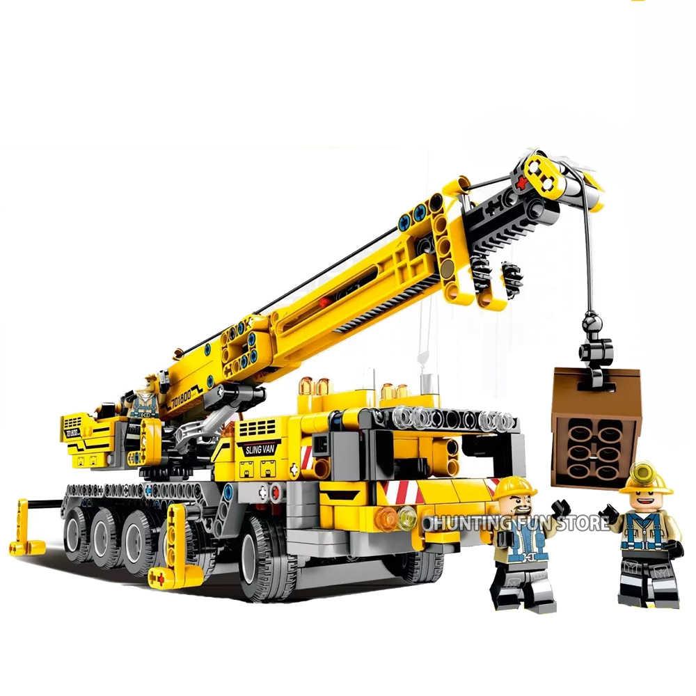 Technic серия Мобильный кран Набор техника, грузовик набор с мини фигурки развивающие строительные блоки кирпичи игрушки для детей мальчик подарок