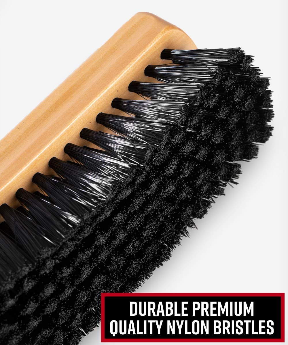 2.5 x 2.5 Inch Horse Hair Plate Cleaning Brush with Handle