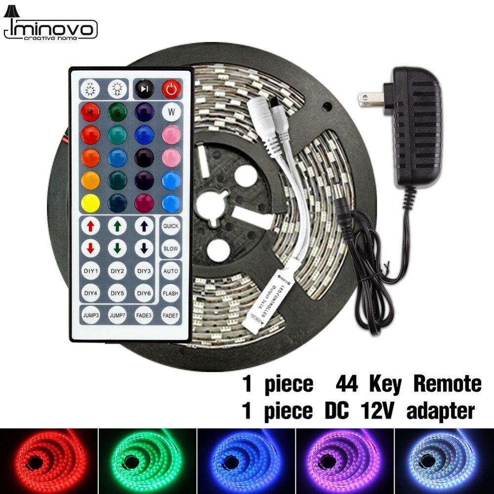 LED Strip Light DC 12V Flexible Diode Ribbon Tape SMD 2835 5050 RGB 24Key 44Key Power Remote Waterproof 1M 2M 3M 4M 5M Lighting