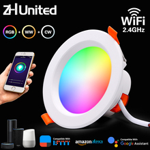 LED Downlight Color-Changing Wifi Cool Round Alexa Smart APP Google Home Dimming 9W Warm