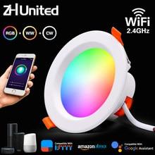 Diodo emissor de luz downlight wifi app inteligente escurecimento redondo luz de ponto 5w 7w 9w rgb cor mudando quente luz fria trabalho com alexa google casa
