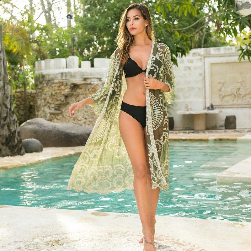 Pareo Beach Wear Beachwear Women 2019 Summer Dress For Woman Outlet New Black White Mesh Embroidery Bikini With Sun Proof