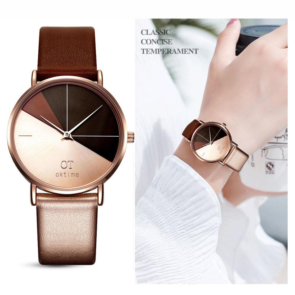 New Famous Brand Women Watch Simple Fashion Leather Band  Quartz Round Wrist Watches Orologio Donna Relogio Feminino Saat#W