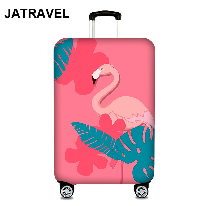 JATRAVEL Flamingo Thicken Trolley Luggage Protective Cover Animal Pattern 18-32inch Travel Baggage Elastic Suitcase Case Covers