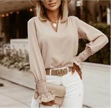 2020 outono elegante profundo decote em v sólido blusa camisas femininas casual solto manga longa topos pulôver escritório senhora moda doce