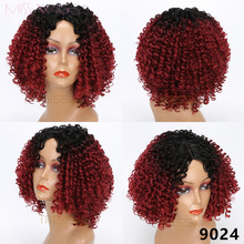 MISS WIG Medium Black Ombre Red Wigs Kinky Curly Wigs for Black Women Synthetic Hair High Temperature Fiber Afro Women