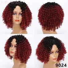 MISS peluca larga negro Ombre rojo pelucas rizadas pelucas para mujeres negras pelo sintético de alta temperatura de fibra Afro mujeres