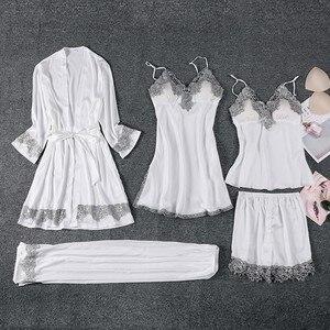 Image 3 - 女性5個パジャマセット女性のセクシーなレースのローブスーツ入浴ガウン絹のようなサテンナイトウェアパジャマスーツ夏のカジュアルパジャマ睡眠セット