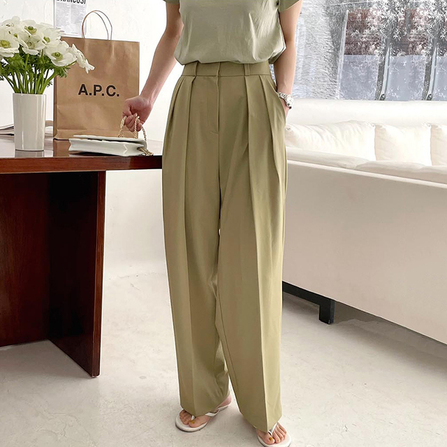 [EWQ] Korea Chic Casual Fashion Temperament Solid High Waist Folds Loose Wide-leg All-match Suit Pants Women Summer 2021 16E82 4