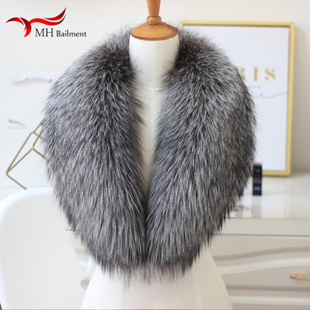 100% real fox fur collar natural color fur scarf ladies natural silver fox winter warm shawl coat collar women image