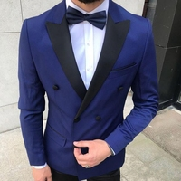 Fashion navy tuxedos groom wedding men suits 2 pieces tuxedo blazer costumes de smoking pour hommes men(Jacket+Pants+Tie)