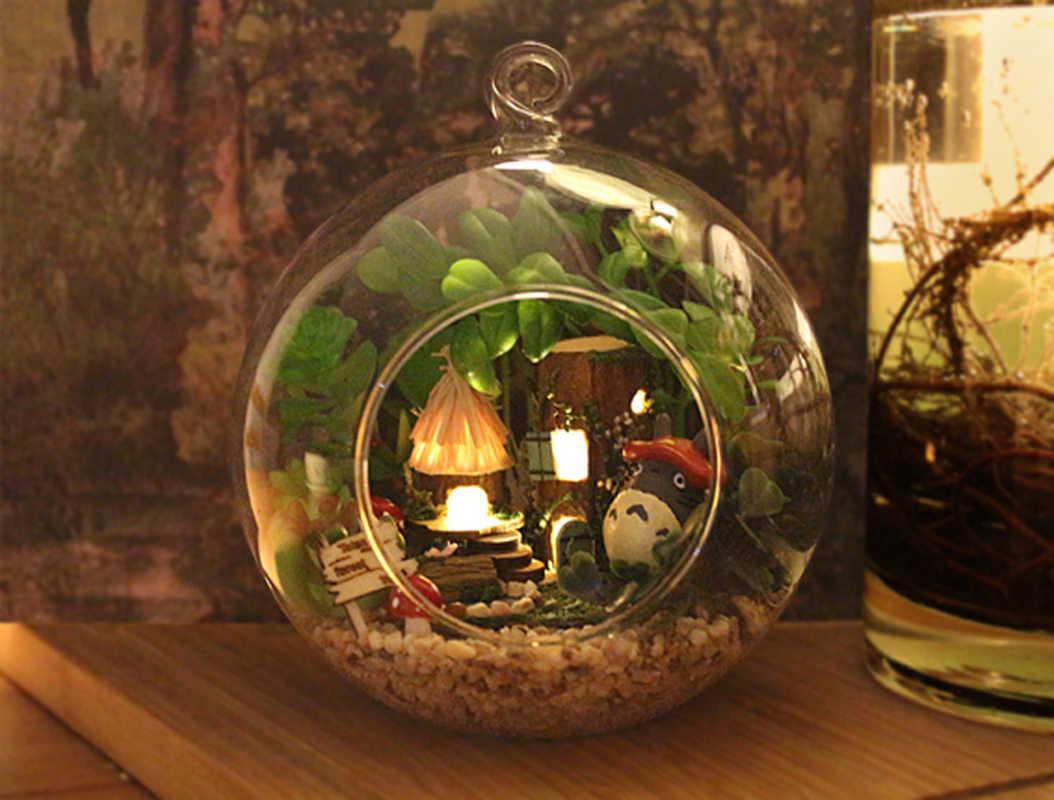Glas Poppenhuis met Handgemaakte Houten Meubels Decoratie Speelgoed Miniatuur Poppenhuis Houten Speelgoed voor Kinderen Geschenken Tribal Elfen