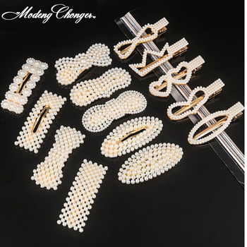 New Geometric Hair Clip Korean Simulated Pearl Barrettes Beaded Women Hairgrips Girls Jewelry Fashion Hair Pins Hair Accessories funmor korean round lady brooches simulated pearl metal corsage circle scarf decoration hair sweater cloak buckle pins jewelry