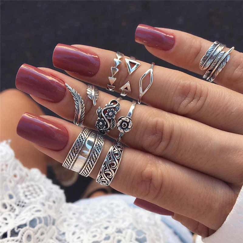 9 Pcs/set Vintage Silver Arrow Leaf Flower Carved Knuckle Rings Set For Women Bohemia Hollow Geometric Rings Anillos Mujer