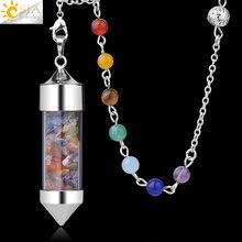 CSJA Новое поступление 7 Чакра Желая бутылка маятник рейки натуральный чип камень кулон ожерелье для женщин мужчин гадания амулет F976