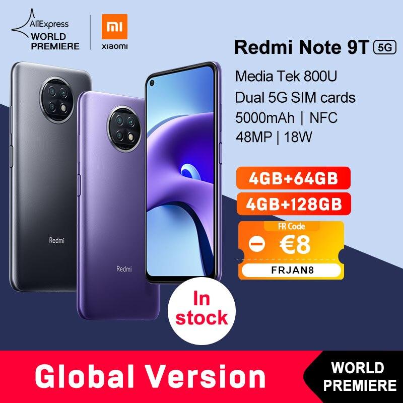 Estreia mundial xiaomi redmi nota 9t 5g 4gb 64gb/128gb versão global nfc smartphone dimensão 800u 5000mah 48mp câmera