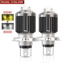 Ampoules de phares de voiture double couleur LED H4, ampoules de phares de moto, lampe automobile, 12V 6000LM H1 H11 H3 H13 9005 9006