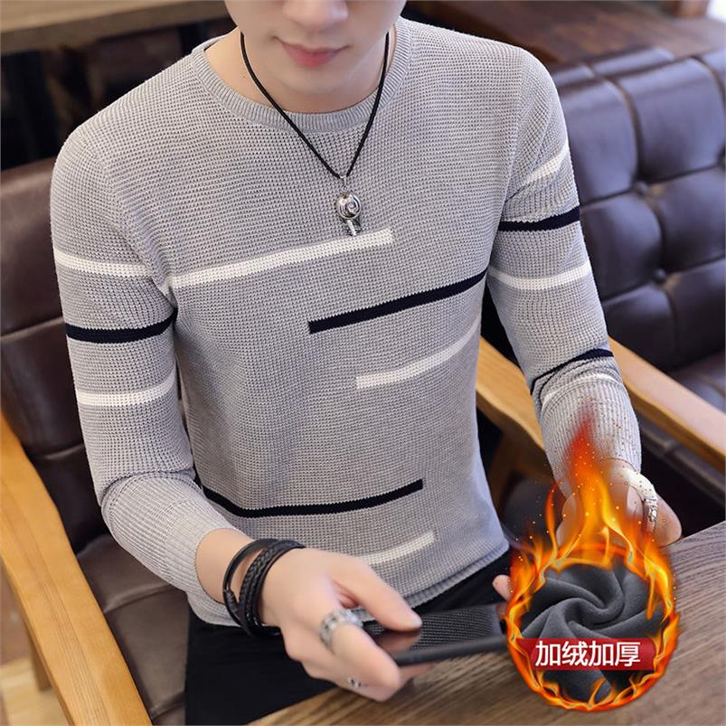 Men Sweater 2017 New Fashion Solid Men's Pullovers Casual Knit Sweaters Man Long Sleeved O-Neck Sweater red Navy Men's Clothing
