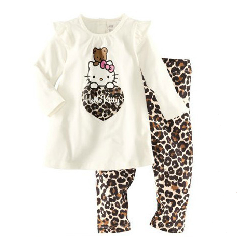 Cotton Comfortable Girls Clothes Suit Home Service Cartoon Cat Leopard Love Fashion Kids Clothing Set