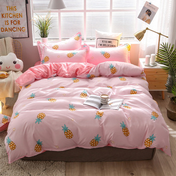 Pink bedding with yellow pineapple printed Bedding Set blue leaves print Queen Size Bed Sheets Children Quilt cover for kids