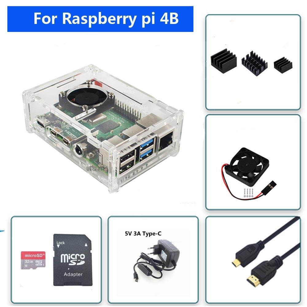 Raspberry PI 4 Model B Acrylic Case  With Cooling Fan +32GB SD Card+5V 3A Power+Heatsink+HDMI For Raspberry Pi 4B Free Shipping