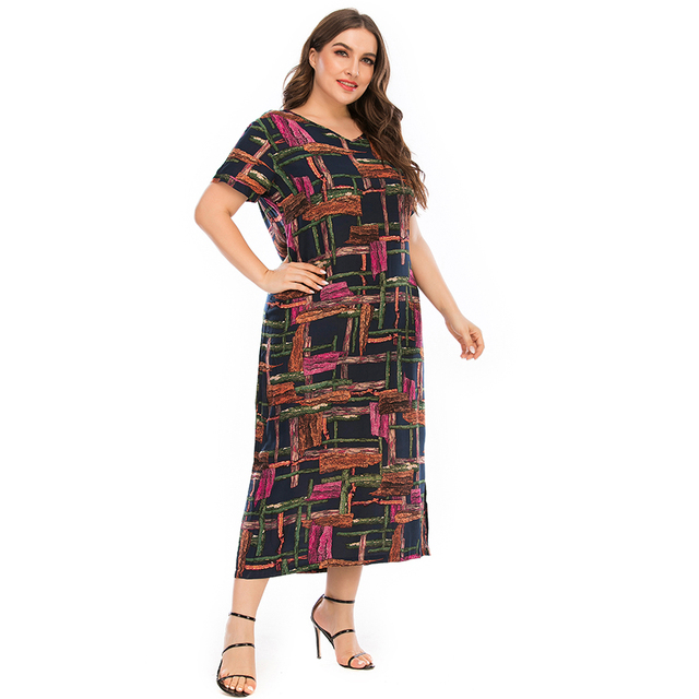 Plus Size Dressr V Neck Short Sleeve Colorful Plaid Print 4