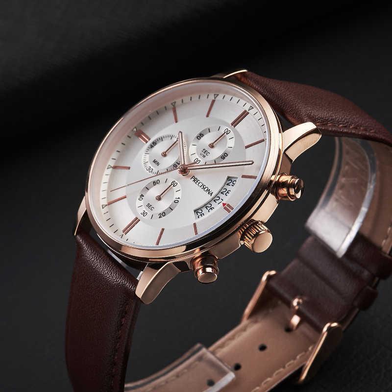 Precisona Neue Mode Herren Uhren mit Edelstahl/Leder Stahl Top Marke Luxus Sport Chronograph Quarz Uhr