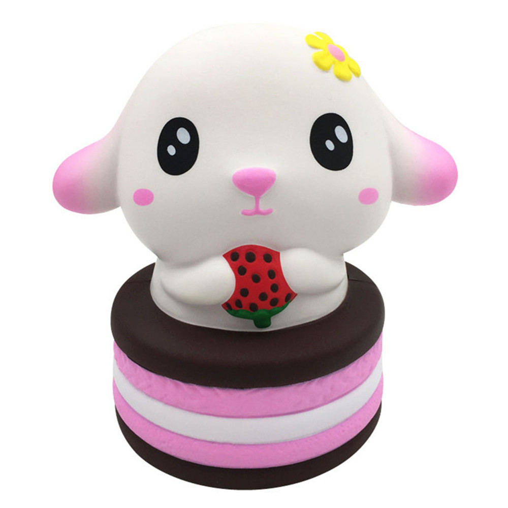 Cute Rabbit Strawberry Cake Funny Slow Rising Relieve Stress Toy Simulation Dessert Soft Vent Decompression Toy #C