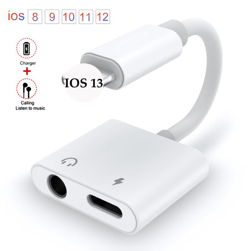 New Hot Sale IOS 13 3.5mm 2 In 1 Audio Headphone Charging Dual Adapter For IPhone X XR XS MAX 11 7 8 Plus Aux Cable Jack Adapter
