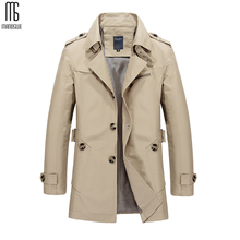 Manoswe Long Trench Coat Men New Men's Spring Casual Jacket Windbreaker Outerwear High Quality Fashion Long Coat