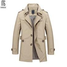 Manoswe طويل خندق معطف الرجال 2019 جديد الرجال الربيع سترة غير رسمية سترة واقية ملابس خارجية عالية الجودة موضة معطف طويل