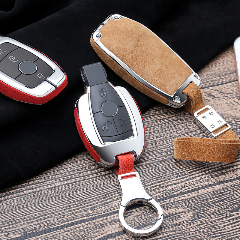 2020 New Suede Leather Car Key Case Cover FOB Shell For Mercedes Benz E Class E200 E300 W202 W210 W211 W204 W212 2018 Accessorie image