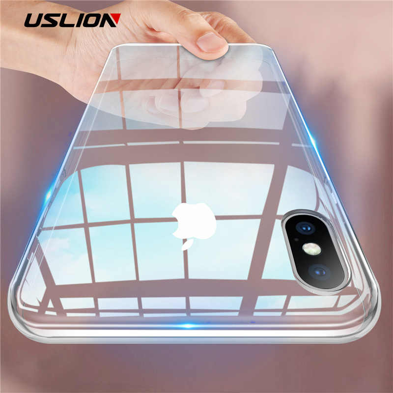 USLION Candy Color Clear Soft Phone Case For iPhone 6 7 8 Plus Transparent Phone Case For iPhone X XR XS Max TPU Silicone Cover