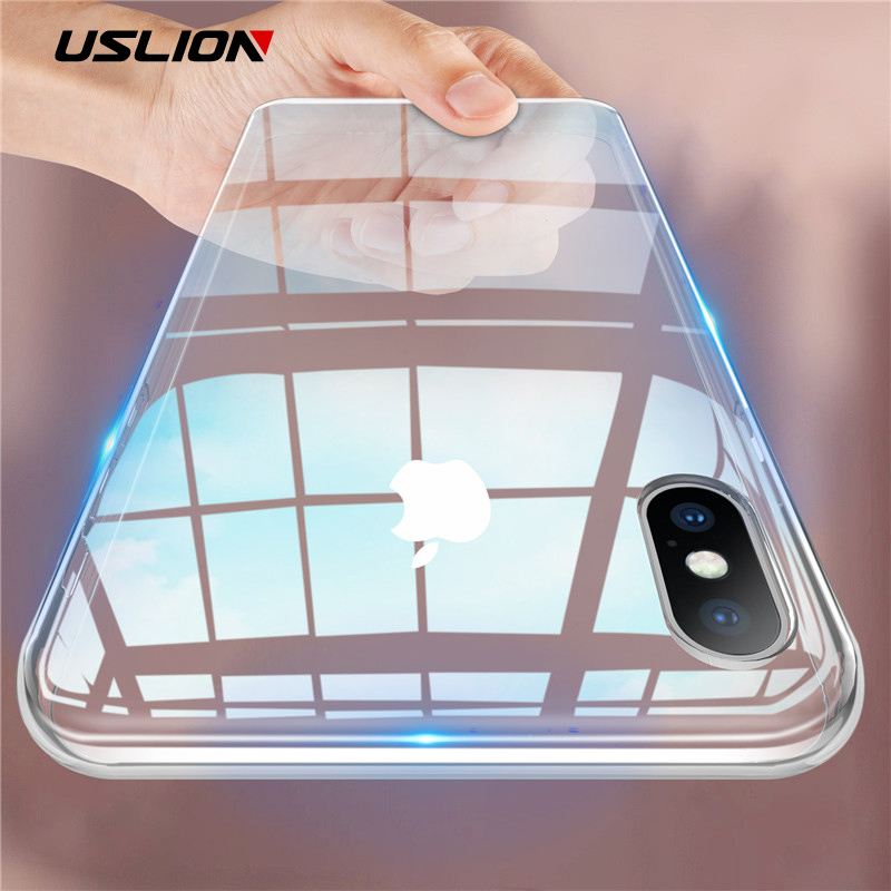 USLION Candy Color Clear Soft Phone Case For iPhone 6 7 8 Plus Transparent X XR XS Max TPU Silicone Cover