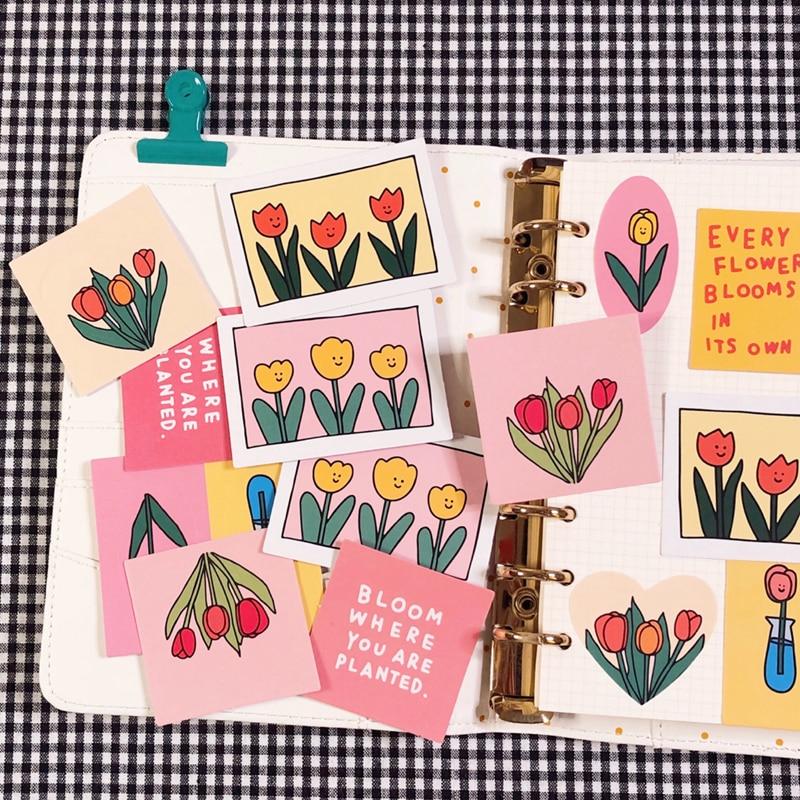 14pcs/bag Vintage Tulip Flower Series Stickers DIY Scrapbooking Phone Journal Album Diary Happy Plan Decoration Stickers