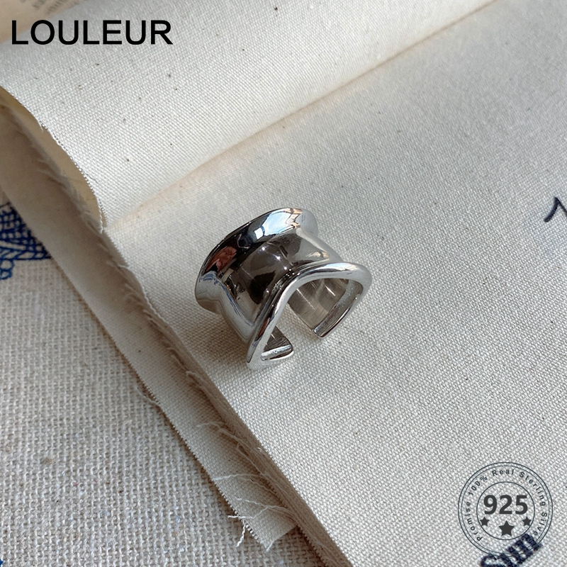 LouLeur 925 Sterling Silver Wide Surface Rings For Women Fashionable Elegant Irregular Rings Minimalist  Harajuku Style Jewelry