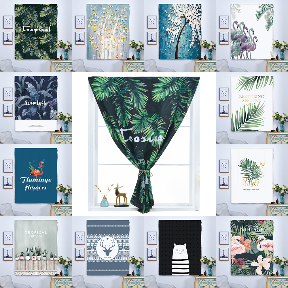 Velcro Blackout Curtains Punch Free Easy Install Short Curtains Green Plant Leaves Living Room Bedroom Window Treatments Drapes Best Promo 8bf44 Cicig