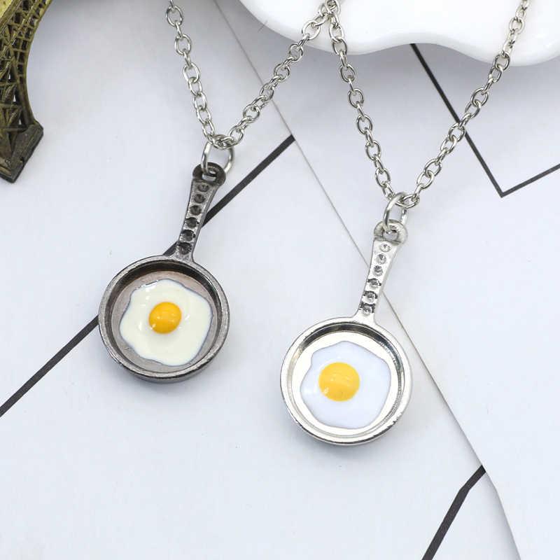 DIY omlet tava kolye kolye şef yaratıcı Metal yemek bildirimi kolye erkek Unisex takı mezuniyet hediyeler