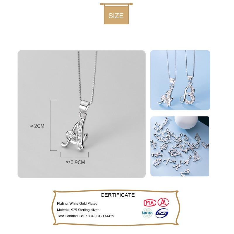 Trust davis réel 925 en argent Sterling Simple 26 lettre brillant pendentif CZ bricolage accessoires pour les femmes de mariage Fine S25 bijoux DA1990 2
