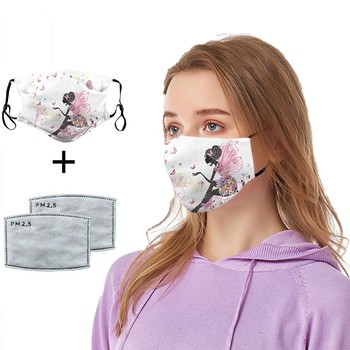 Woman Pretty Mouth mask anti-dust filter print design face mouth cover adjustable mask for adult outdoor fabric masker facemask