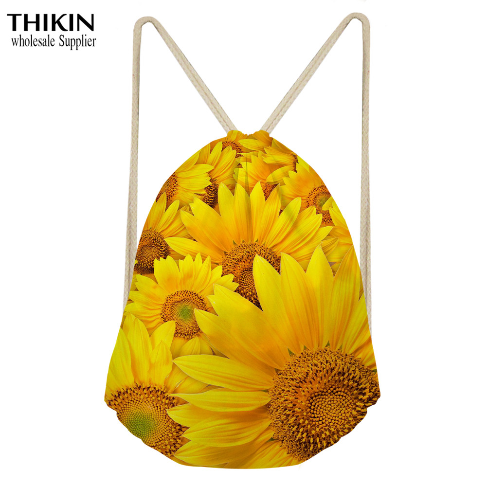 THIKIN Sunflower Pattern Drawstring Bags Women Lightweight Backpack Bags Cartoon Flower Shoes Travel Organizer Home Storage Bag