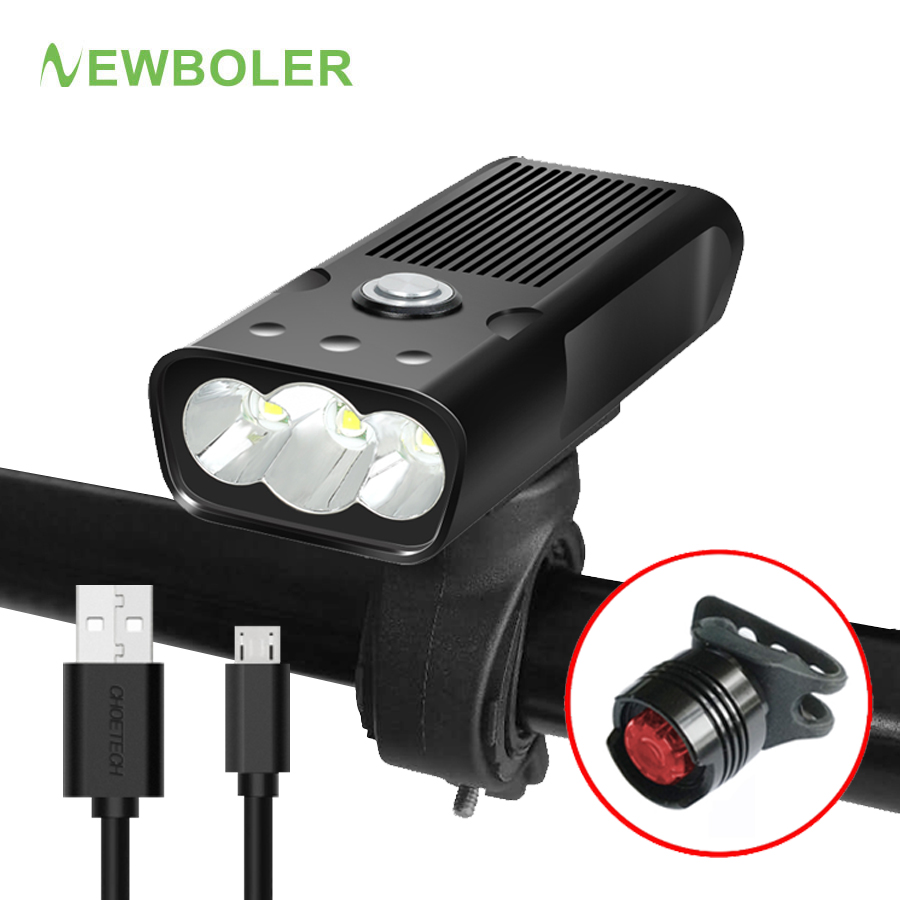 NEWBOLER 2000Lums Bicycle Light L2/T6 USB Rechargeable 5200mAh Bike Light Waterproof LED Headlight Power Bank Bike Accessories