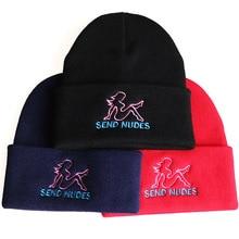 Отправить ню skullies шапочки Cap мода хлопок вышивка женщины мужчины Шапочка высокое качество зимняя шапка мужской женский шляпа
